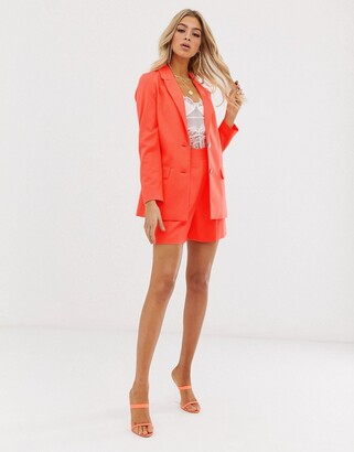 Asos Design DESIGN pop coral soft suit shorts-Pink