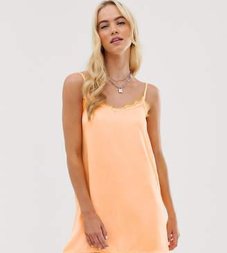 New Girl Order cami slip dress with lace trim-Orange