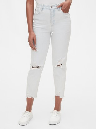 Gap High Rise Destructed Mom Jeans