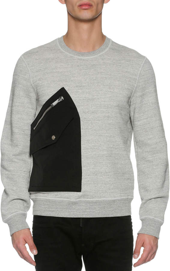 DSQUARED2 Patch-Pocket Space-Dye Sweatshirt, Dark Gray