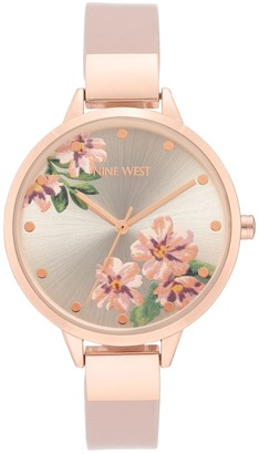 Nine West Women's Floral Dial Band Watch