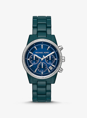 Michael Kors Ritz Pave Teal Coated Watch