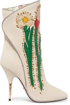 Gucci Fosca Appliquéd Embellished Textured-leather Ankle Boots - White