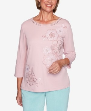 Alfred Dunner Women's Plus Size St. Moritz Monotone Embroidered Flowers Top