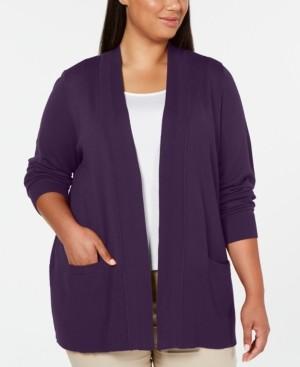 Karen Scott Plus Size Open-Front Cardigan, Created for Macy's