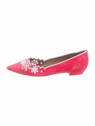 Tabitha Simmons Suede Embroidered Accent Ballet Flats Pink