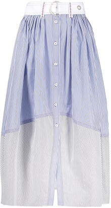 Chloé Striped Mid-Length Cotton Skirt