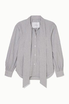 Pushbutton - Pussy-bow Striped Cotton-poplin Blouse - White