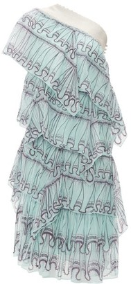 Zandra Rhodes Tiered Abstract-print Silk-chiffon Midi Dress - Womens - Blue Print
