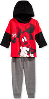 Nannette 2-Pc. Mickey Mouse Layered-Look Hoodie & Pants Set, Baby Boys