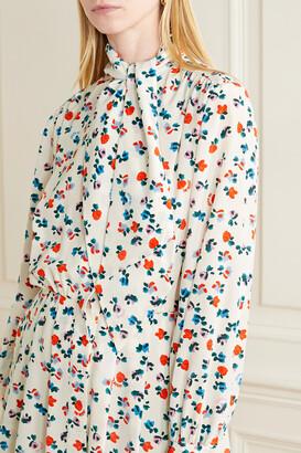 Jason Wu Tie-neck Floral-print Silk Crepe De Chine Mini Dress - Cream
