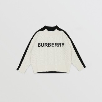 Burberry Embroidered Logo Cable Knit Wool Blend Sweater
