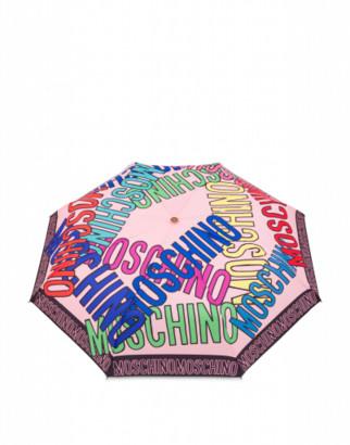 Moschino Multi Logo Openclose Umbrella Woman Pink Size Single Size
