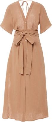 Bird & Knoll Ines Belted Cotton Gauze Midi Dress