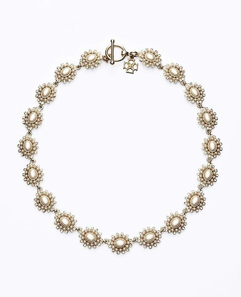 Ann Taylor Pave Border Pearlized Necklace