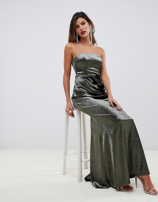 Asos Design DESIGN bandeau maxi dress in drape velvet with fishtail hem-Green