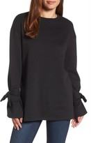 Halogen Women's Tie Sleeve Sweatshirt