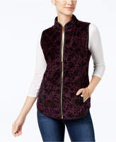 Charter Club Floral Velour Vest, Created for Macy's