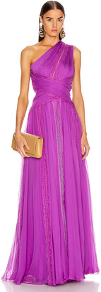 ZUHAIR MURAD Silk Chiffon Long Dress in Hyacinth Violet | FWRD