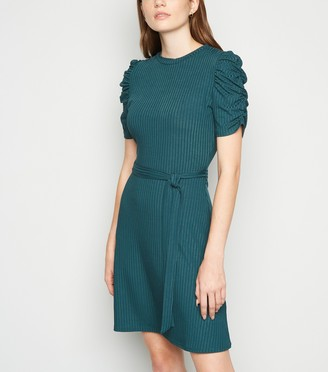 New Look Ruched Sleeve Belted Mini Skater Dress