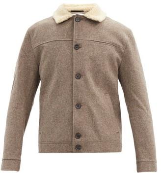 Oliver Spencer Buffalo Shearling-collar Wool Jacket - Beige
