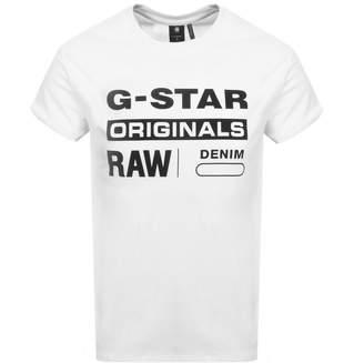 G Star Raw Logo T Shirt White