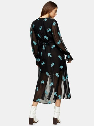 Topshop Idol Embelished Floral Midaxi Dress - Black
