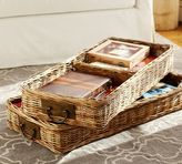 Pottery Barn Caden Square Ottoman Divided Basket