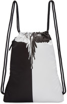 Marcelo Burlon County of Milan Black and White Aish Drawstring Backpack