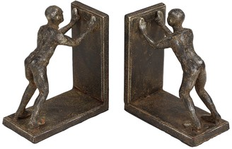 Willow Row Human Figurines Pushing Brown Metal Bookends