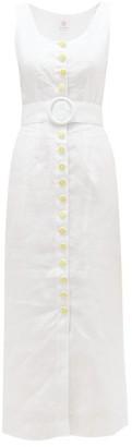 Gül Hürgel Belted Daisy-button Linen Midi Dress - Womens - White
