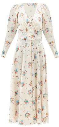 Paco Rabanne Buttoned V-neck Floral-print Satin Dress - White Print