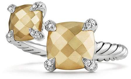 David Yurman Ch'telaine Bypass Ring with 18K Gold and Diamonds
