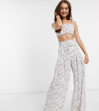 Sisters Of The Tribe Petite wide leg pants in floral two-piece