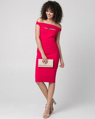 Le Château Knit Crepe Off-the-Shoulder Shift Dress