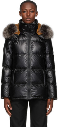 Yves Salomon   Army Yves Salomon - Army Black and Brown Down Puffer Jacket