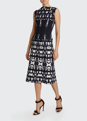 Alaia Mesh Boat-Neck Sheath Dress