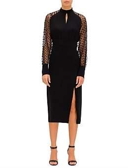 Balmain Ls Cutout Swiss-Dot & Crepe Midi Dress