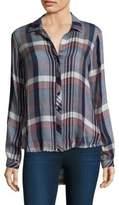 Bella Dahl Plaid Fray Hem Button-Down Shirt