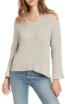 Moon River Women's Fuzzy Knit Cold Shoulder Sweater