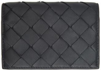 Bottega Veneta Black Intrecciato Flap Card Holder