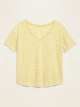 Old Navy Loose-Fit Printed Linen-Blend Easy Tee for Women