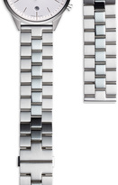 Uniform Wares Women's linked watch bracelet with butterfly clasp in polished and brushed steel