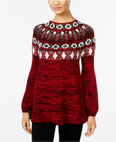 Style&Co. Style & Co Petite Fair Isle Marled Sweater, Only at Macy's