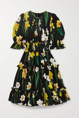 Dolce & Gabbana Floral-print Silk-chiffon Dress - Black