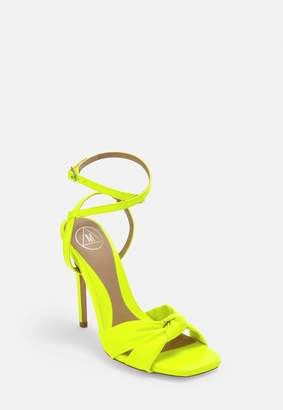 Missguided Neon Yellow Knot Front Strappy Heels