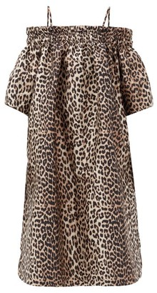 Ganni Off-the-shoulder Leopard-jacquard Midi Dress - Leopard