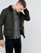 NATIVE YOUTH Bord Collar Wool-Mix Flight Jacket