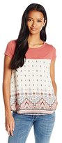 Jolt Women's Printed Knit to Woven Ss Top