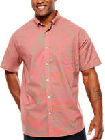 THE FOUNDRY SUPPLY CO. The Foundry Big & Tall Supply Co. Short Sleeve Plaid Button-Front Shirt-Big and Tall
